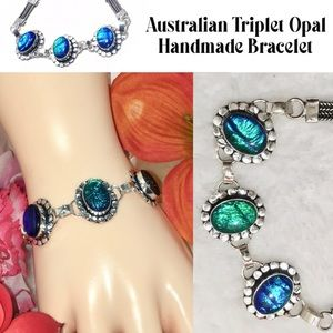 🆒 Australian Triplet Fire Opal Handmade Bracelet
